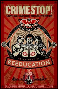 'Crimestop 1984 Propaganda Poster' Photographic Print by LibertyManiacs George Orwell, Winston Smith, Nineteen Eighty Four, Propaganda Art, Fan Art, Canvas Prints, Art Prints, Framed Prints, Retro
