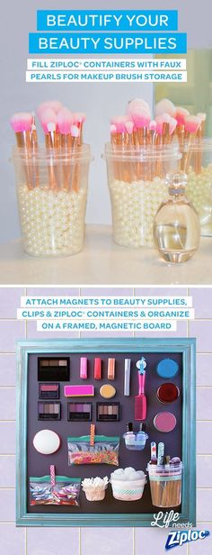 Keep your makeup brushes clean and organized with these DIY brush holders. Just fill a Ziploc Twist n Loc with faux pearls beads or decorative rocks and then add your brushes. The holder will looks nice on your countertop and can clear up some drawer space in your bathroom. The magnetic board is another great DIY makeup organization idea. A cute and functional way to add some personality to your vanity or bathroom and keep your favorite products easy to find.
