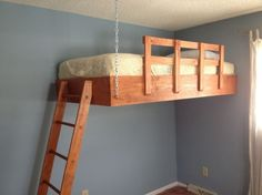 Suspended bed plans creative of hanging loft home monizing bedroom kids dream bunk beds ideas decoration . Build A Loft Bed, Loft Bed Plans, Kid Beds, Bunk Beds, Loft Beds, Suspended Bed, Hanging Beds, Hanging Chairs, Diy Hanging