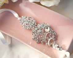 1920s Bridal Ribbon Headband Deco Wedding Hair door LottieDaDesigns