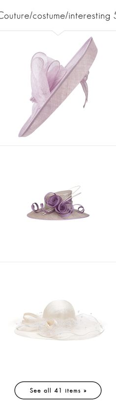 """Couture/costume/interesting 5"" by fashion-film-fun ❤ liked on Polyvore featuring hats, fascinator, fascinator hat, hair fascinators, lilac hat, bow hat, accessories, cocktail hat, holiday hats and white"
