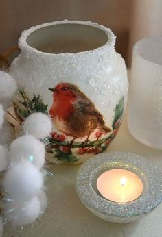 reuse an old candle jar to create this christmas candle holder, chalk paint, christmas decorations, crafts, decoupage, repurposing upcycling