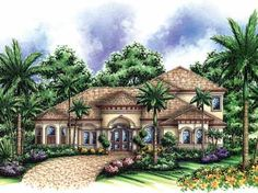 Beautifully Tiled Roof (HWBDO14789) | Mediterranean House Plan from BuilderHousePlans.com