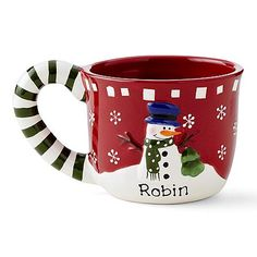 Red Snowman Candy Cane Mug; (Personalizable) - $14.99 each