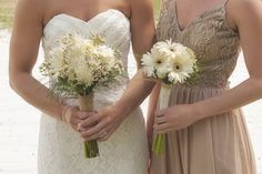 White Gerbera Daisy and Chrysanthemum Bouquets