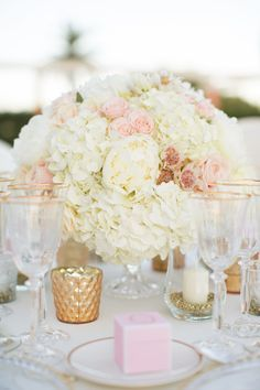 Classic Romantic Blush and White Centerpiece with Accents of Gold // traditional, floral, arrangement, tablescape, pink, low and lush