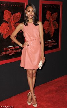 Stunning: Zoe Saldana looked perfect in pink leather at the Los Angeles premiere of Colombiana