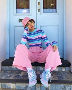 Color Block Fashion Vintage Inspired Bucket Hat Sneakers Trainer Wide Leg Pants Pants Stripes The Ef Vintage Outfits, Retro Outfits, Casual Outfits, Vintage Fashion, Vintage Pants, Vintage Clothing, Colourful Outfits, 1950s Fashion, Vintage Dresses