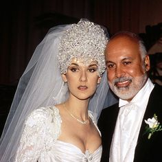 Celine Dion and Rene Angelil.  There was a lot people who just hated the singer's elaborate wedding dress.  The headpiece she wore weighed 7 lbs and had to be sewn to her veil.  The dress was over the top.