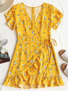 48affedc49c2 Plunging Neck Floral Print Ruffles Dress YELLOW  Mini Dresses M