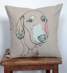 Applique Dog Cushion by florencev4 on Etsy, $45.00 Love this pillow. #dogthrowpillow #dogart Charming.