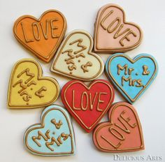 Wedding Art Cookies/Wedding Favors (50pc). $125.00, via Etsy.