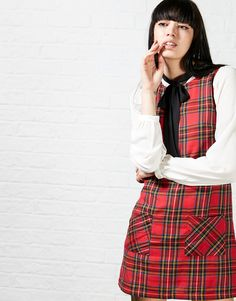 Hearts and Bows Yamila Tartan Pinafore Dress - A unique streetstyle store stocking own labels Hearts & Bows + CLOAK plus Fred Perry, Carhartt, ASA, Motel and more