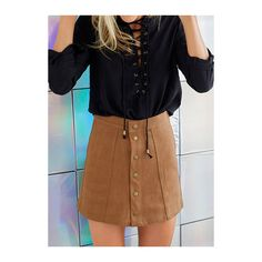 Rotita Button Design Brown Mini A Line Skirt (€15) ❤ liked on Polyvore featuring skirts, mini skirts, brown, brown skirt, a line skirt, a line mini skirt, brown a line skirt and embellished skirt