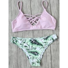 Pink Leaf Print Criss Cross Mix & Match Bikini Set featuring polyvore, women's fashion, clothing, swimwear, bikinis, pink, print bikinis, pink push up bikini, crisscross bikinis, patterned bikini and push-up bikinis