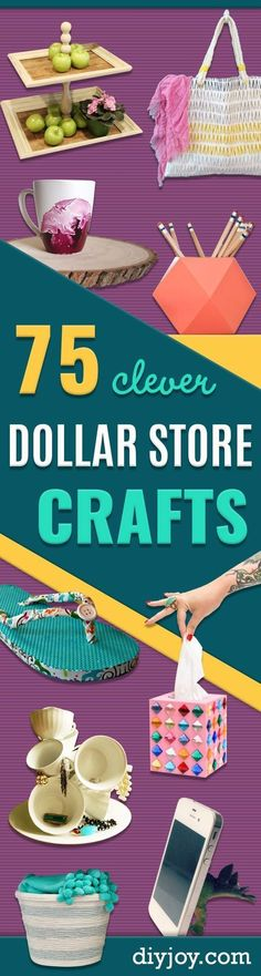 Dollar Store Crafts - Best Cheap DIY Dollar Store Craft Ideas for Kids, Teen, Adults, Gifts and For Home - Christmas Gift Ideas, Jewelry, Easy Decorations. Crafts to Make and Sell and Organization Projects http://diyjoy.com/dollar-store-crafts #craftjewelry