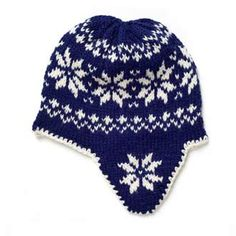 norwegian hand knitted hat blue and white