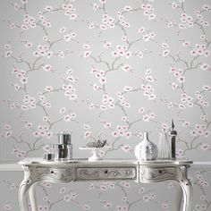 Apple Blossom Tree is a delicate and elegant design and looks fantastic in any room. The soft tones and flicks of metallic creates a stunning wallpaper in three different colour ways. Botanical Wallpaper, Tree Wallpaper, Flower Wallpaper, Wallpaper Roll, Pink Wallpaper For Bedroom, Wallpaper Online, Pink And Grey Wallpaper, Oak Dining Chairs, Stunning Wallpapers