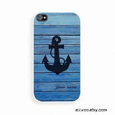 Personalized phone 4 Case, Monogram iphone case, Custom iphone 4s Case, iphone 4 Cover, Hard iphone 4 Case - Anchor