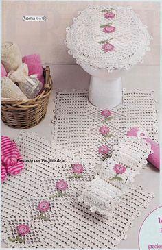 Bathroom set ♥️LCB-MRS♥️ with diagram. --- Facilite Sua Arte: Jogo de Banheiro 4 - Tapete da pia