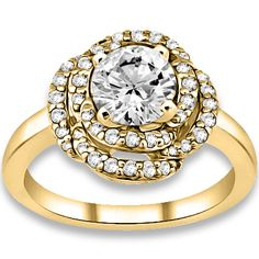 0.93 ctw 14k YG Natural G-H Color, I1 Clarity, Accent Diamond Engagement Ring #diamondEngagementRing #Rings #Ring  #jewelry @pricepointshop