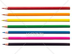 close-up shot of color pencil. - Detailed shot of a colorful pencil crayons on white background.
