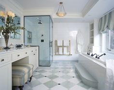 pale blue and white bathroom