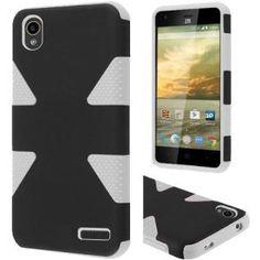 ZTE Warp Elite Hard Cover and Silicone Protective Case - Hybrid Triangle Black/ White 1