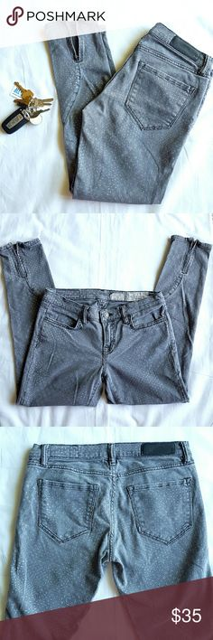 """All Saints Brodie Cropped Ankle Jeans Beautiful pattern denim in washed gray. Four pockets, low rise, skinny fit, zippered ankles, zipper closure with single button. 25"""" inseam, 97% cotton 3% spandex. Gently used, in really good condition. All Saints Jeans Ankle & Cropped"""