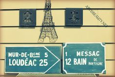 french road signs from cabinet doors