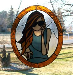 Stained Glass Woman with Sunglasses Panel by Conijash on Etsy, $149.75