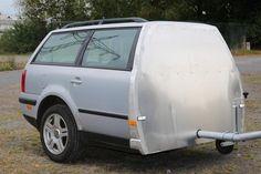 #VW Heck als Anhänger  #Werbeanhänger #halbes Auto #Werbeträger # half car trailer