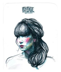 Pretty Drawings, Amazing Drawings, Art Drawings, Fashion Illustration Face, Illustration Girl, Paula Bonet, Arte Sketchbook, Portrait Art, Portraits