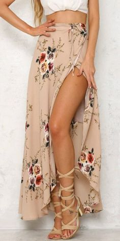 eff1f73602 Yonala Womens Boho Floral Tie Up Waist Summer Beach Wrap Cover Up Maxi Skirt  Apricot Small