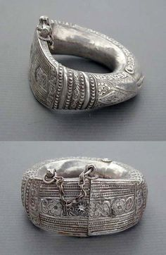 "Oman | Antique silver Bedouin anklet "" Nizwa "" 