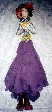 "Simple Pleasures  20"" Wall Doll with clothing, headwrap, face and beading instructions.  Cloth Doll Making Sewing Patterns by  Christine Shively of ""Jesterdays"""