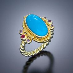 ring 22kt gold granulation persian turquoise