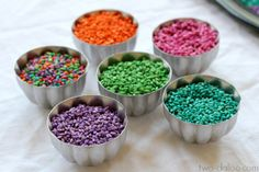 Rainbow Barley - sensory activity and then glue on paper for craft - God Gives Promise