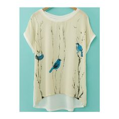 SheIn(sheinside) Apricot Short Sleeve Birds Print Dip Hem T-Shirt ($11) ❤ liked on Polyvore featuring tops, t-shirts, apricot, short sleeve tops, bird t shirts, short sleeve summer tops, short sleeve tee and round neck t shirt
