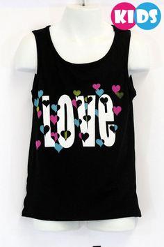 """Love"" Printed Tank Tank Tops, Printed, Kids, Women, Fashion, Young Children, Moda, Halter Tops, Boys"