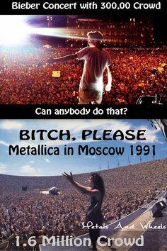 You fcking lose again Beiber birch! LOL Metallica will always be the greatest Heavy Metal Rock, Heavy Metal Music, Power Metal, Black Metal, Emo Bands, Music Bands, Rock Bands, Music Humor, Music Memes