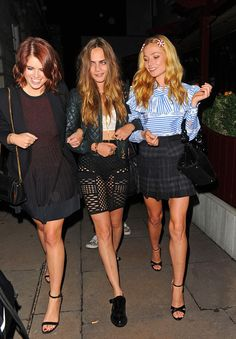 (L-R) Princess Eugenie of York, Cara Delevingne and Clara Paget attends Love Magazine's Party at Lulu's Member's Club on September 21, 2015 in London, England