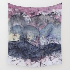 "Wall tapestry with fine art print. Abstract watercolor painting in deep indigo, grey, purple, pink. from my ""Weather Explorations"" series by studioRS on Etsy https://www.etsy.com/uk/listing/476762468/wall-tapestry-with-fine-art-print"