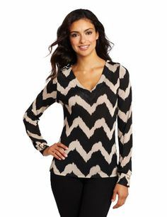 Evolution by Cyrus Women's Long Sleeve Printed V-neck Top, Brushed Wave Print, Large Evolution by Cyrus,http://www.amazon.com/dp/B008RK727E/ref=cm_sw_r_pi_dp_lxMUsb1D4D5G8H1G