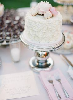 Pretty Little Wedding Cake -Just one element of a bigger dessert table!