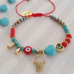 We started with the new bracelet designs ! This beautiful bracelet with turquoise heart and accessories with gold filled and… Seed Bead Jewelry, Cute Jewelry, Boho Jewelry, Beaded Jewelry, Jewelery, Jewelry Accessories, Handmade Jewelry, Jewelry Design, Evil Eye Jewelry