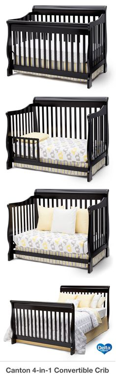 The Delta Canton 4-in-1 convertible crib is a perfect addition to your nursery. This beautiful Canton crib converts to a toddler bed, day bed and full-size headboard with ease. This crib is not only stylish, but it is versatile and economical too. This crib adds elegance, as well as, a contemporary look to the nursery. This classic convertible crib coordinates with the Canton dresser, available for purchase separately. #crib #nursery #baby  #deltachildren #babystuffcribs
