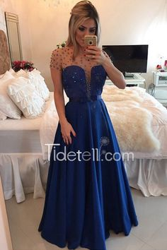 Hot Sale A-line Sheer Scoop Neckline Taffeta Long Prom Dress With Beading