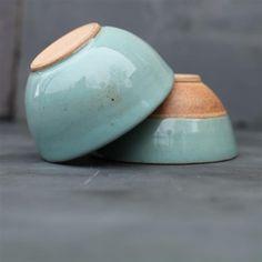 Bol en terre cuite bicolore terracotta et vert d'eau Mali Nkuku