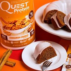 Preheat the oven & dine her (or him) with a Cinnamon Crunch Bundt Cake.  We're not sorry if they fall for you even more. Get the recipe here: http://quest.to/bundtcake.  Nutrition per serving (makes 14): Calories:  171 I Protein: 15g I Fat: 11g I Carb: 5g I.  #onaquest